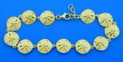 sterling silver sand dollar bracelet gold plated