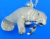 sterling silver manatee pendant pave cz