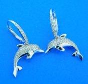 sterling silver dolphin dangle earrings