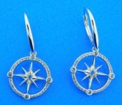 sterling silver compass rose dangle earrings