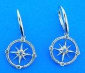 sterling silver compass rose dangle earrings