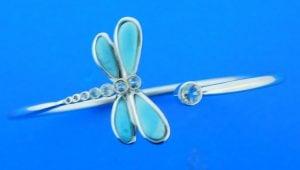 sterling silver and larimar dragonfly bangle bracelet