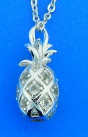 sterling silver and cz pineapple pendant