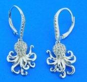 sterling silver octopus leverback earrings