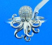 sterling silver and cz octopus ring