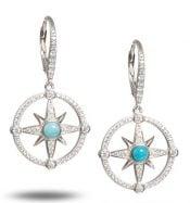alamea compass rose larimar cz earrings sterling silver