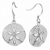 alamea sand dollar cz earrings sterling silver