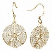 alamea sand dollar gold plated cz earrings sterling silver