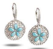 Alamea Sand Dollar Earrings, Sterling Silver & Larimar