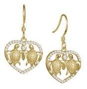 alamea sea turtle heart gold plate earrings, sterling silver