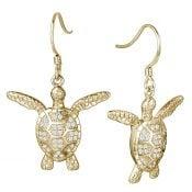 alamea sea turtle yellow gold plated dangle earrings