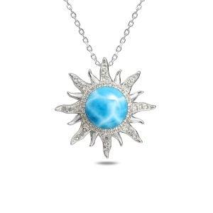 Alamea Sun Pendant, Sterling Silver & Larimar