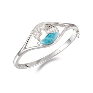 Alamea Wave Bangle Bracelet, Sterling Silver & Larimar