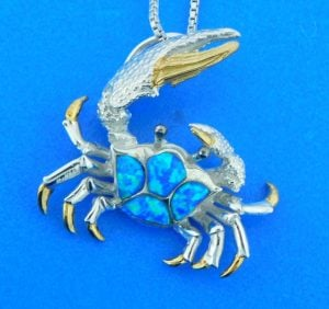 sterling silver blue crab pendant