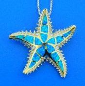 sterling silver starfish opal slide