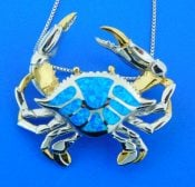 sterling silver blue crab opal slide