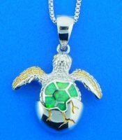 sterling silver hatching sea turtle pendant sterling silver