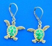 sea turtle opal earrings