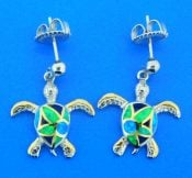 sterling silver sea turtle opal earrings