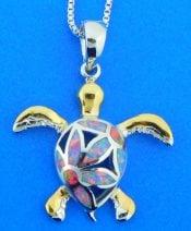 sterling silver sea tutle opal pendant