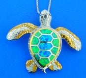 sterling silver sea turtle opal pendant