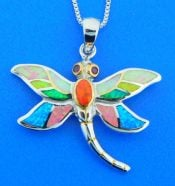 sterling silver dragonfly opal pendant