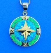 sterling silver compass rose opal pendant
