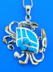sterling silver crab opal pendant