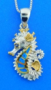 sterling silver seahorse opal pendant