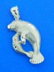 sterling silver manatee pendant mother & baby