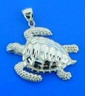 diamond cut sea turtle pendant