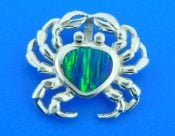 sterling silver crab slide with opal