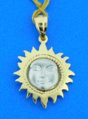 14k sun 2-tone pendant