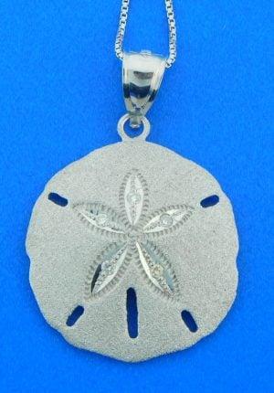 sand dollar white gold pendant