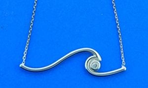 14k wave necklace white gold