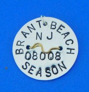Brant Beach Beach Badge, Long Beach Island, Sterling Silver