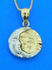14k sun & moon pendant
