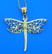 14k dragonfly diamond cut pendant