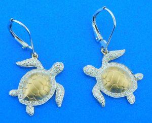 14k diamond sea turtle earrings