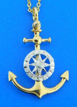 14k anchor compass pendant
