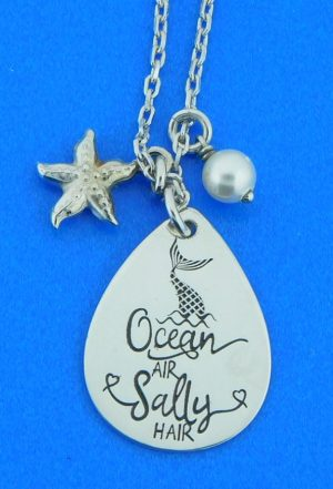 sterling silver ocean air salty hair necklace