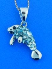 sterling silver manatee pendant with swarovski crystals