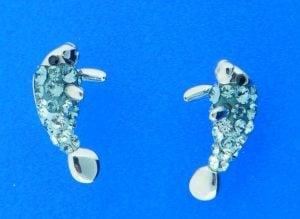sterling silver manatee swarovski crystal earrings