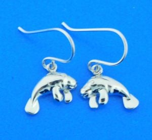sterling silver manatee dangle earrings