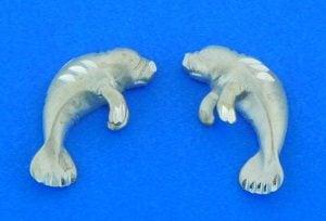 sterling silver manatee earrings diamond cut