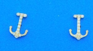 14k anchor diamond post earrings