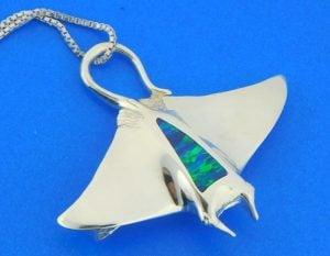 sterling silver manta ray slide pendant