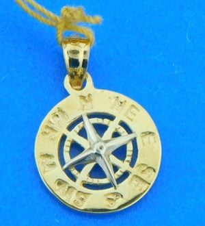 14k compass rose pendant