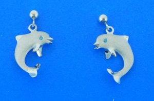 14k denny wong dolphin earrings white gold