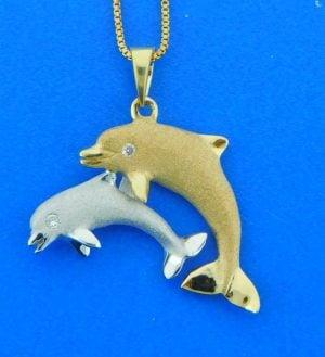 denny wong dolphin pendant 14k 2-tone